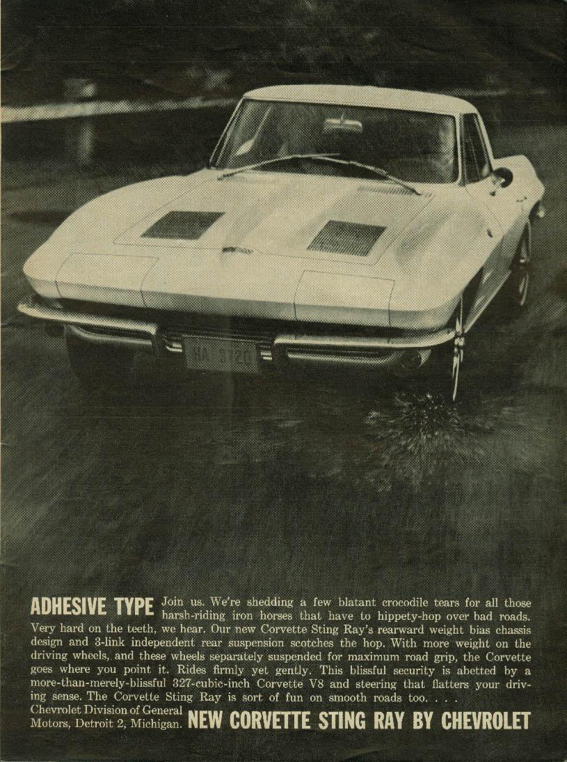 Adhesive Type Chevrolet Corvette Sting Ray ad 1963 C&D