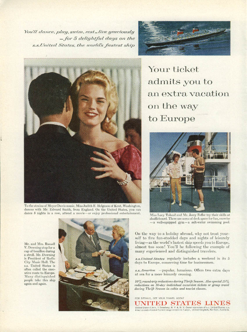 An extra vacation on the way to Europe S S United States ad 1962 NY