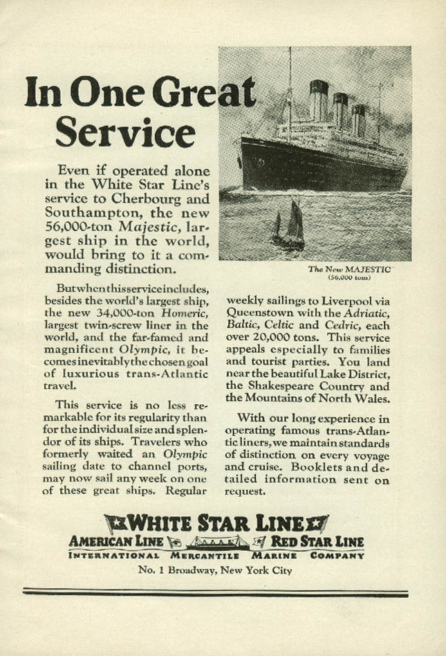 In One Great Service White Star Line R M S Majestic ad 1922