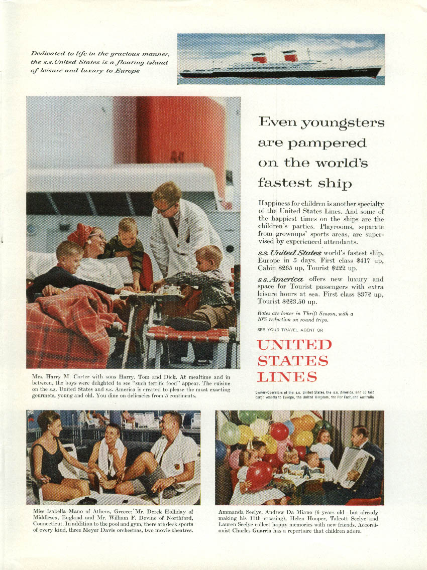 Even youngsters are pampered on the S S United States ad 1961 NY