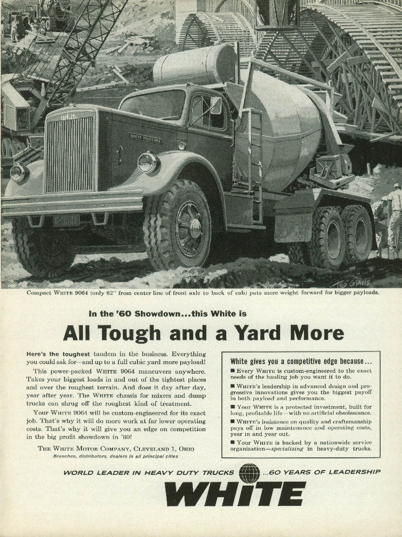 All Tough and a Yard More White 9064 Transit Mix Truck ad 1960