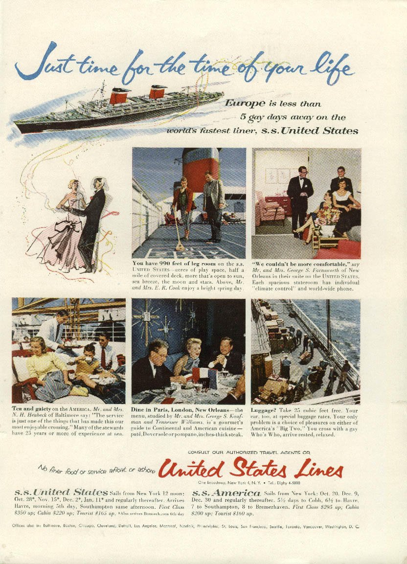 Just time for the time of your life S S United States ad 1955 NY