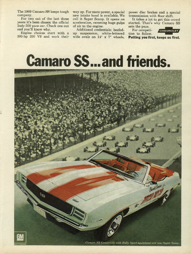 Camaro SS Indianapolis Pace Car & friends ad 1969 HR