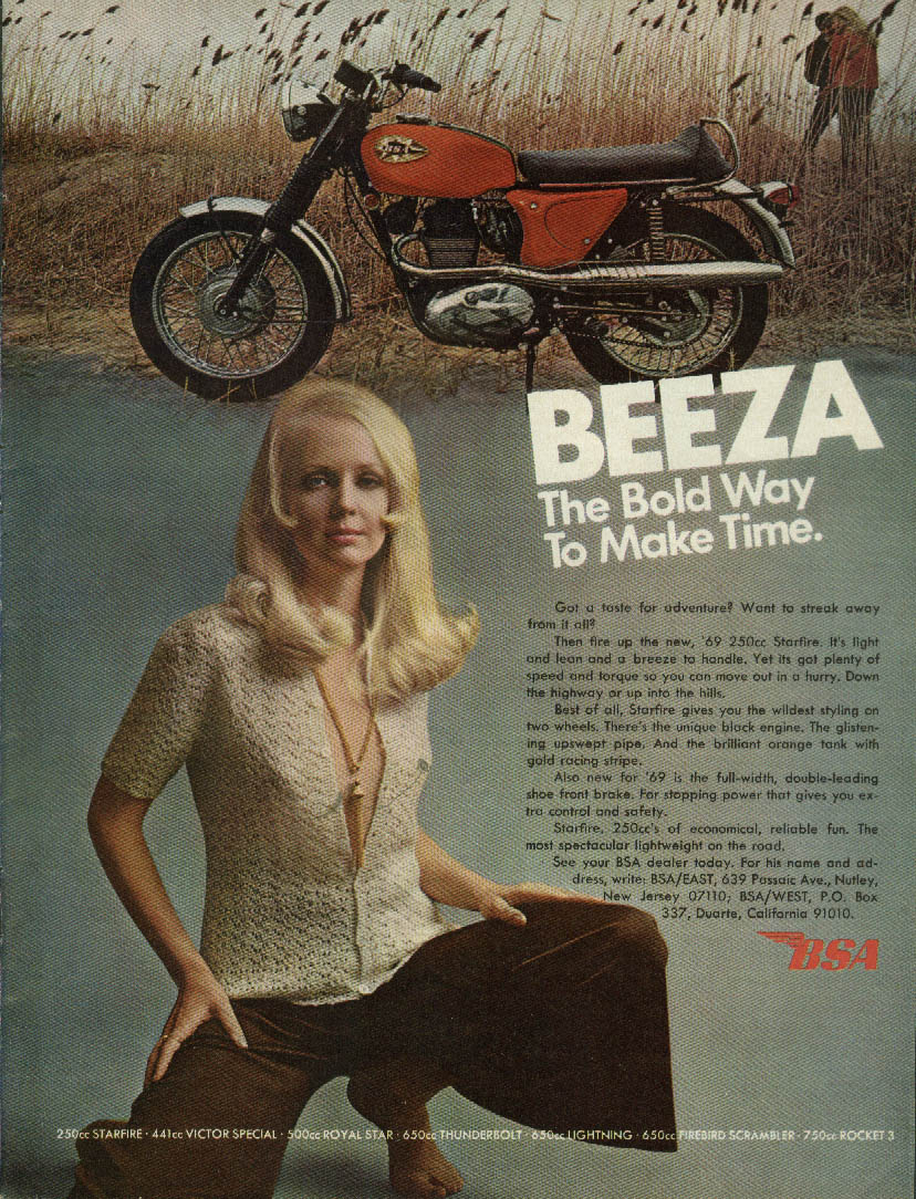 Beeza The bold way to make time BSA 250cc Starfire Motorcycle ad 1969