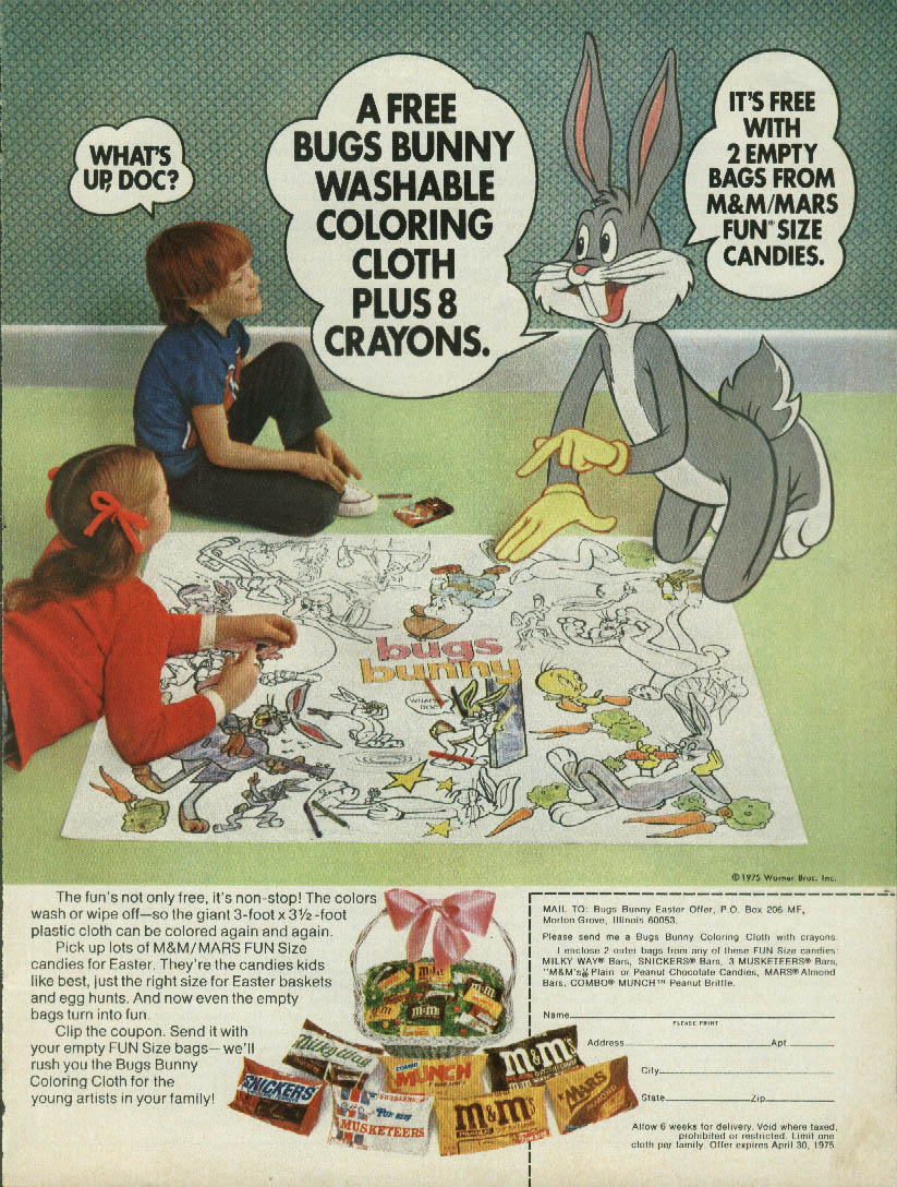 Image for Bugs Bunny Washable Cloth & Crayons Set offer M&M's Mars Candy ad 1975