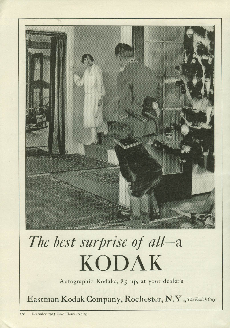 The best surprise of all - a Kodak Camera ad 1925 Christmas tree