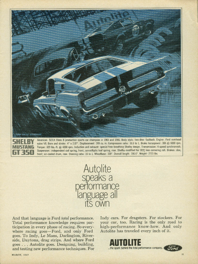 Autolite speaks a performance language all its own ad 1967 Shelby Mustang GT 350