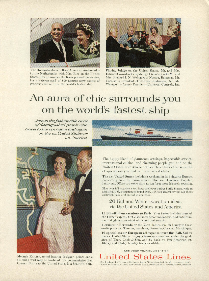 An aura of chic surrounds you on the S S United States ad 1963