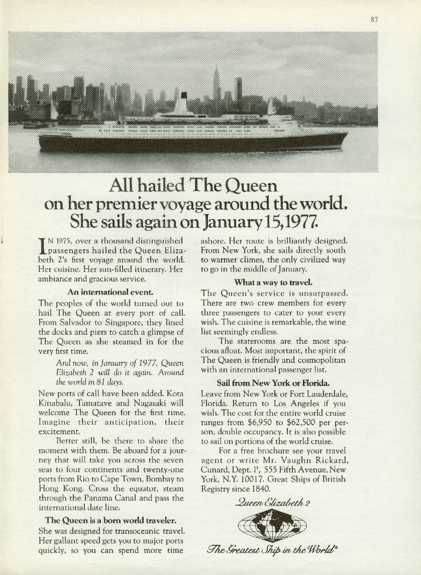 All hailed The Queen - she sails again January 15 1977 Cunard QE2 ad 1976
