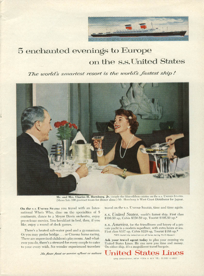 5 enchanted evenings to Europe on the S S United States ad 1960