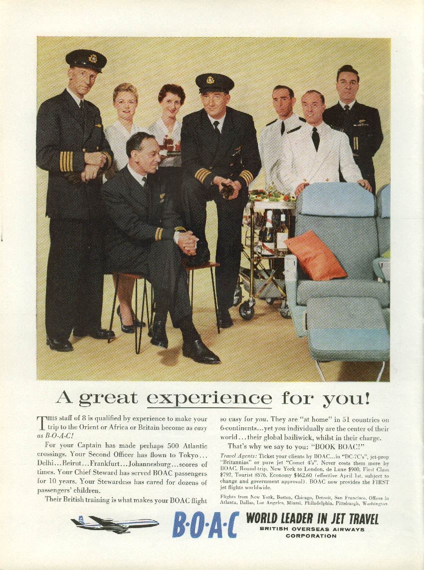 A great experience for you! BOAC Comet 4 ad 1959 flight crew NY