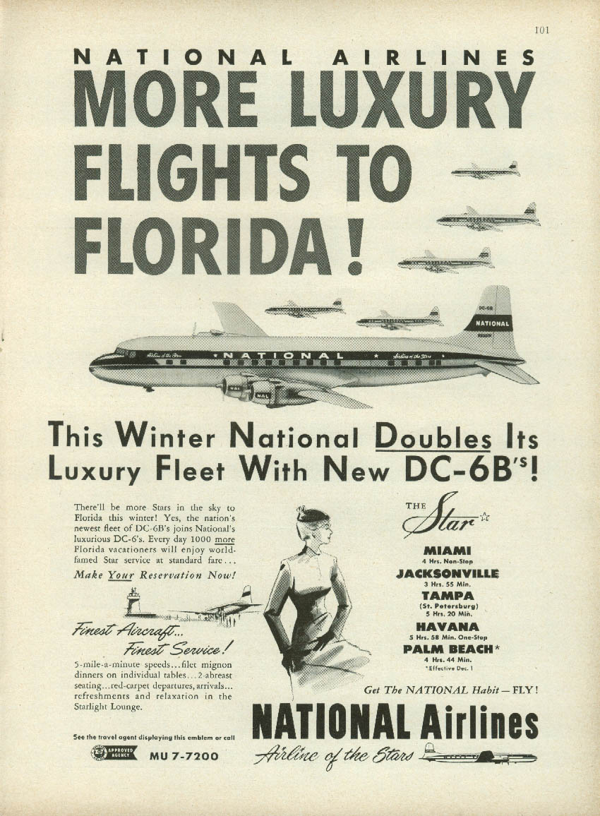 More luxury flights to Florida! National Airlines DC-6B ad 1952