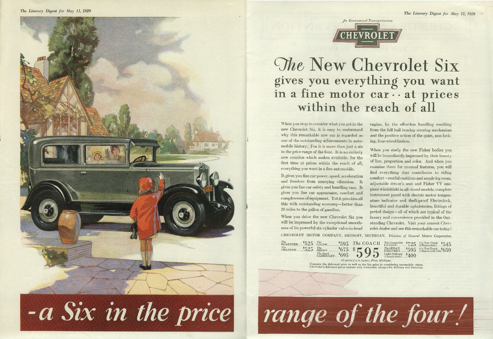 A six in the price range of a Four Chevroler 2-dr Sedan ad 1929