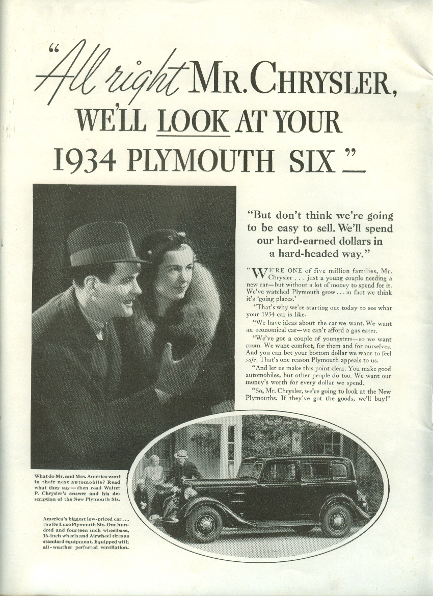 All right Mr Chrysler We'll look at your Plymouth Six ad 1934