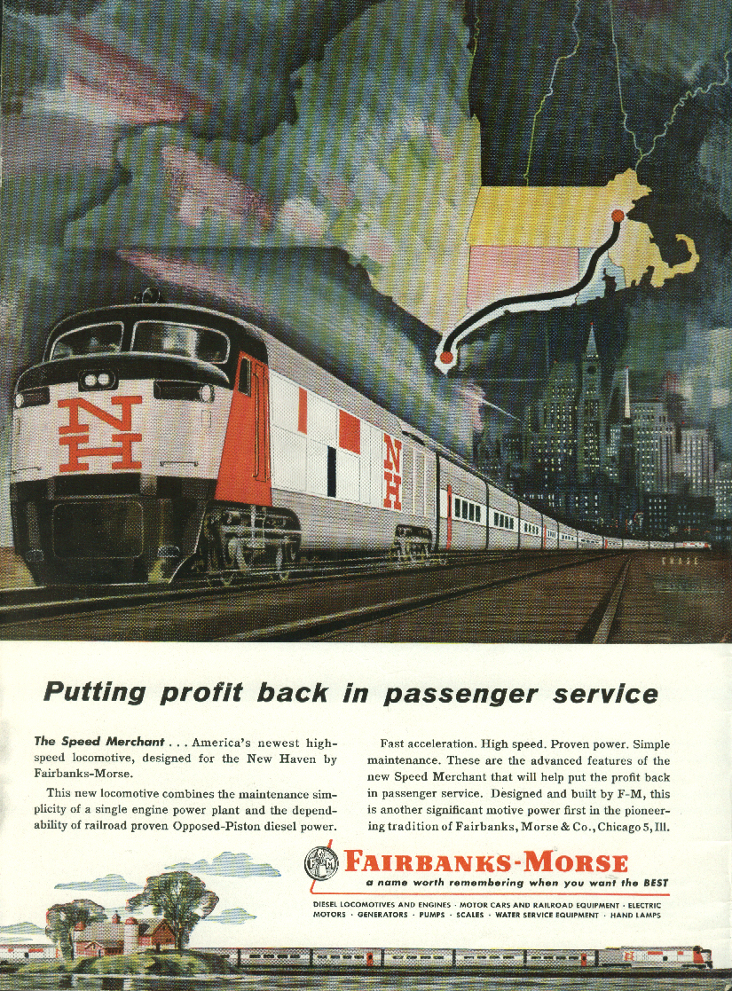 Image for Putting profit back Fairbanks-Morse Speed Merchant ad 1957 New Haven RR