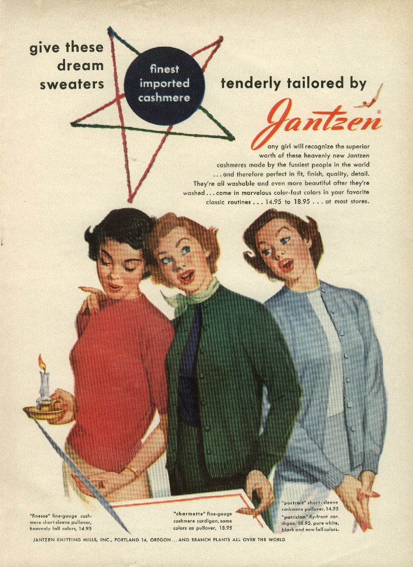 Dream Sweaters tenderly tailored Jantzen ad 1949 Pete Hawley pin-up