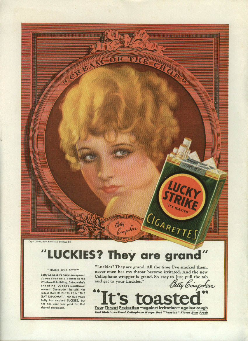 Betty Compson for Lucky Strike Cigarettes ad 1932