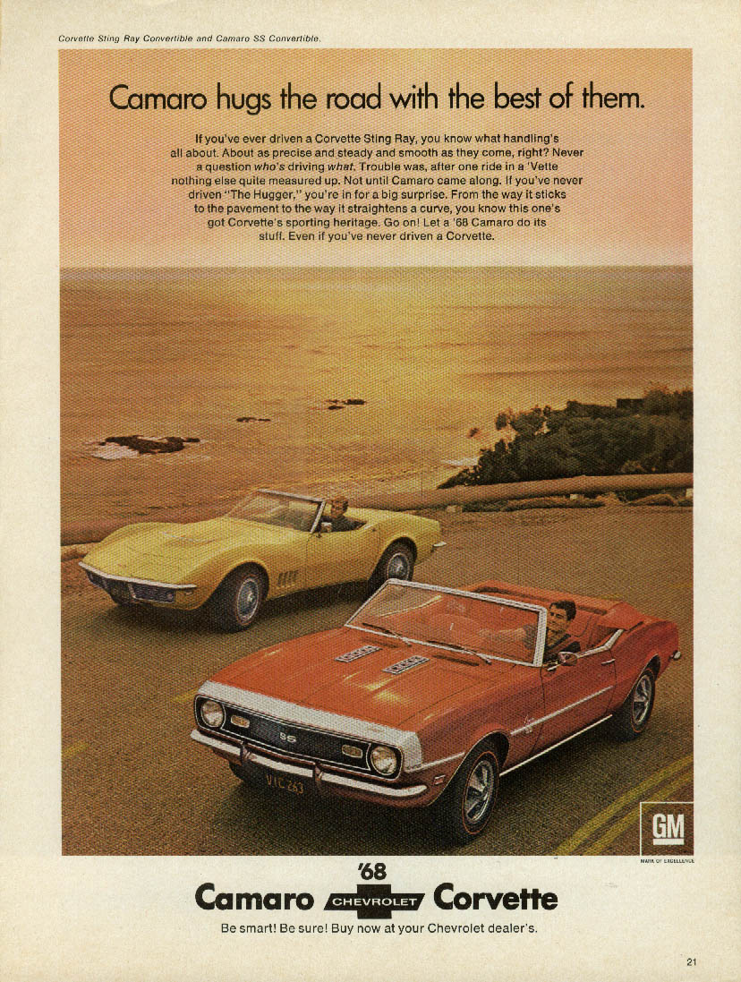 Camaro hugs the road with the best of them Corvette ad 1968 Venture