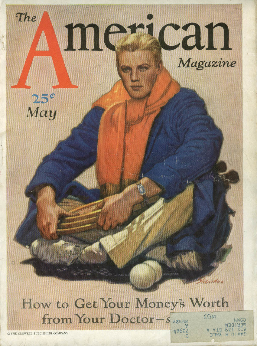 Blond tennis player with racquets by Sheridan American Magazine cover ad 1931