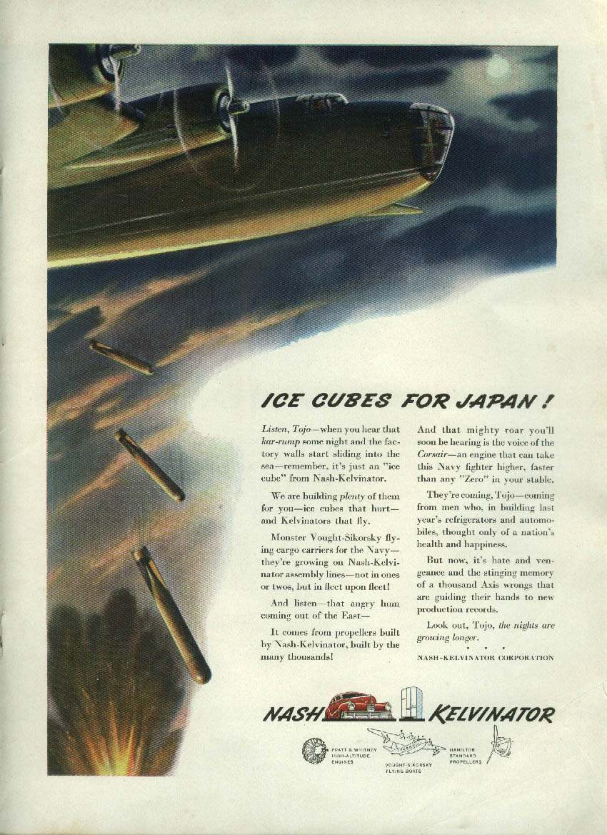 Ice Cubes for Japan! B-24 Liberator drops load Nash ad 1942