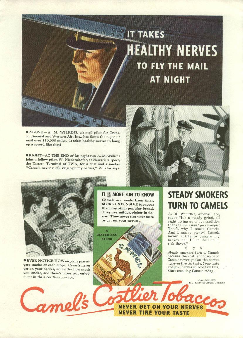 A M Wilkins TWA Air- Mail Pilot Camels Cigarettes / Palmolive Crandell ad 1933