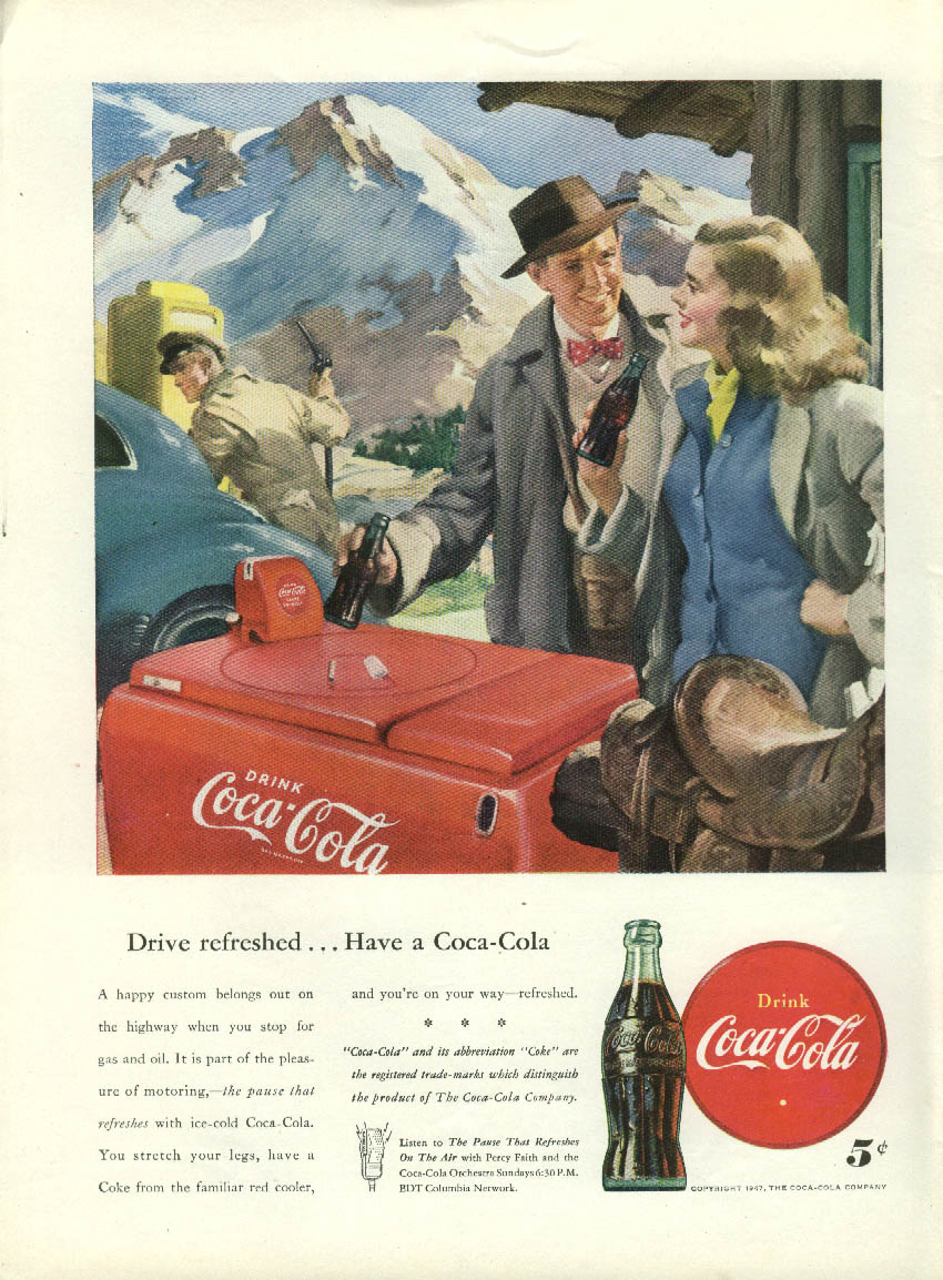 Drive refreshed Have a Coca-Cola ad 1947 Sundblom couple at gas station cooler