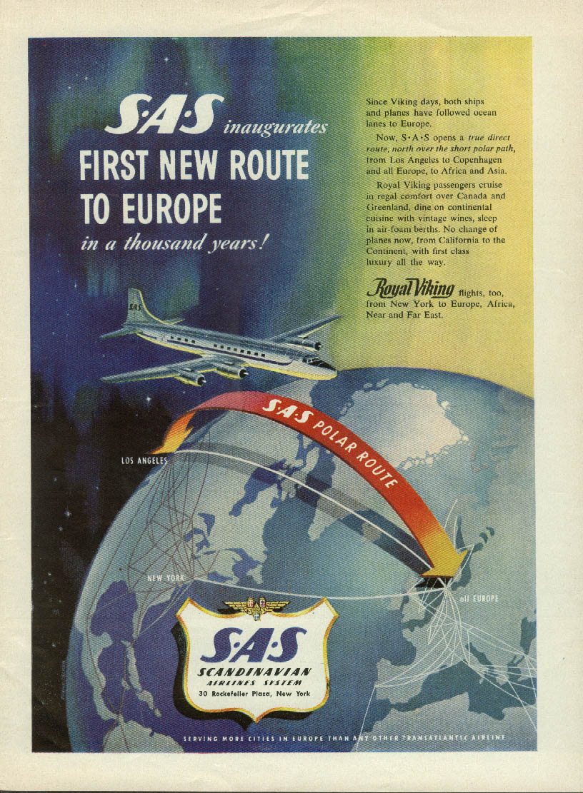1st New Route to Europe in a thousand years Scandinavian Airlines SAS ad 1954