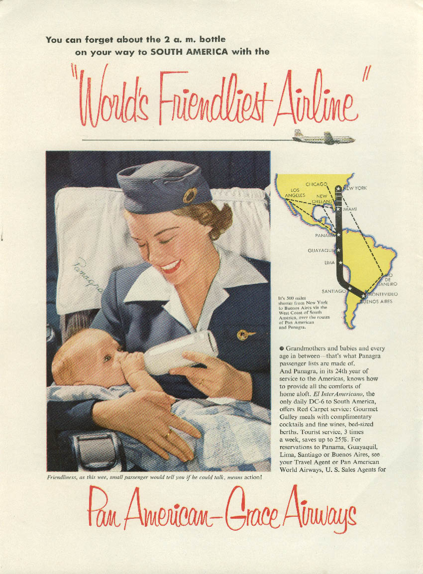 Stewardess feeds 2 AM baby bottle Pan American-Grace Airways ad 1952