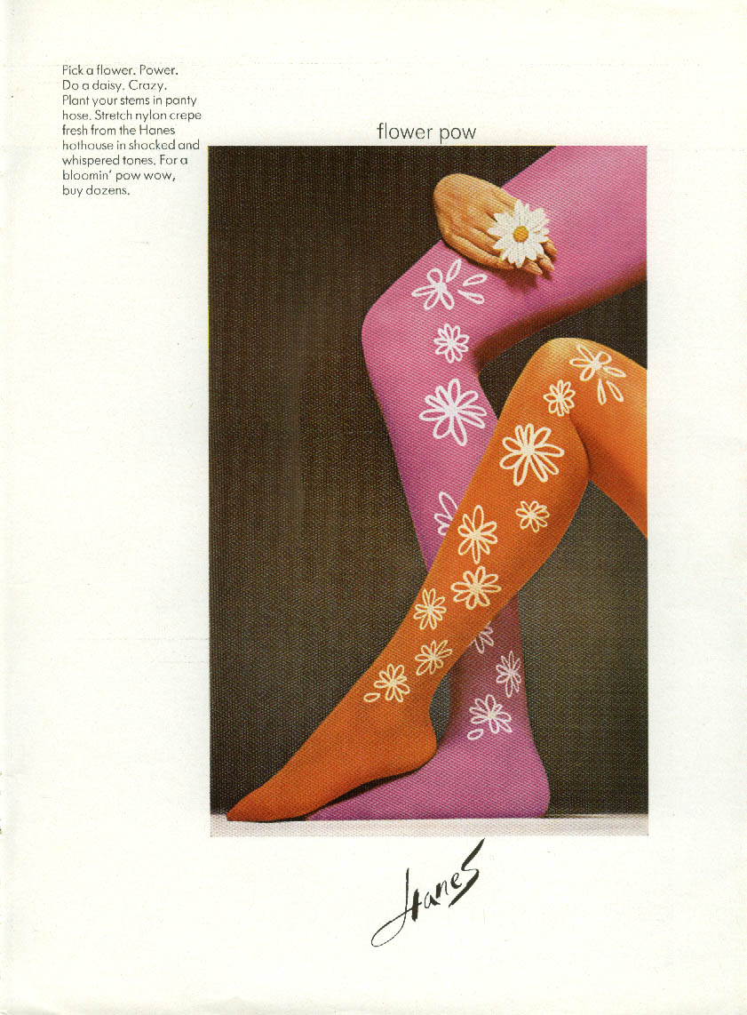 Flower pow. Hanes Pick a Flower Pantyhose ad 1968