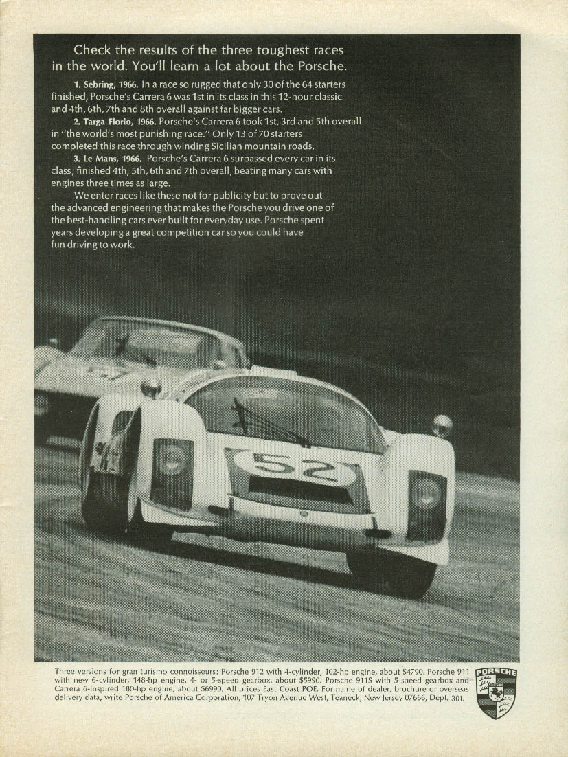 Check the results of the three toughest races Porsche Carrera 6 ad 1967