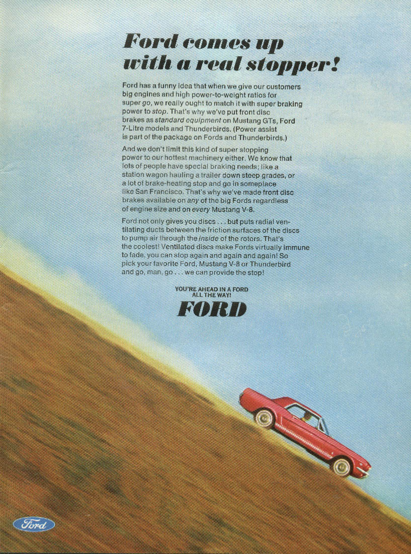 Ford comes up with a real stopper! Mustang V-8 ad 1966