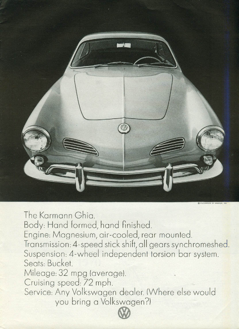 Hand-formed hand-finished body The Volkswagen Karmann Ghia ad 1965
