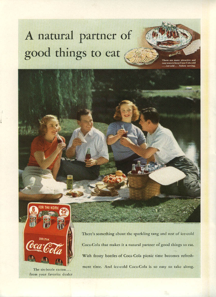 A natural partner of good things to eat Coca-Cola ad 1939 picnic NY