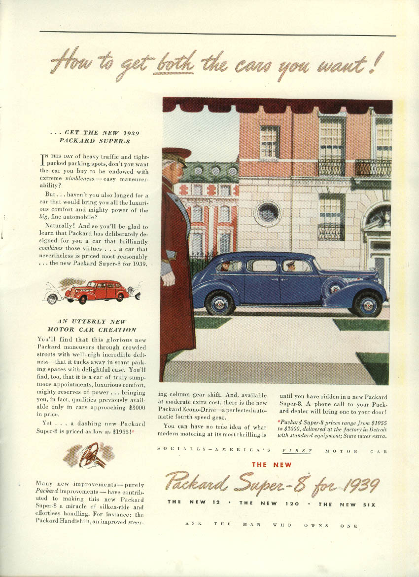 Hot to get both the cars you want! Packard Super-8 Limousine ad 1939 NY
