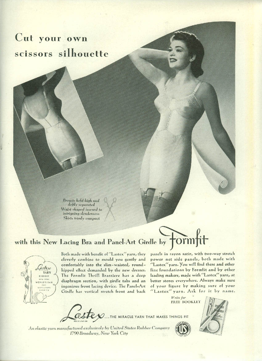 Cut your own scissors silhouette Formfit Bra & Panel-Art Girdle ad 1939 NY