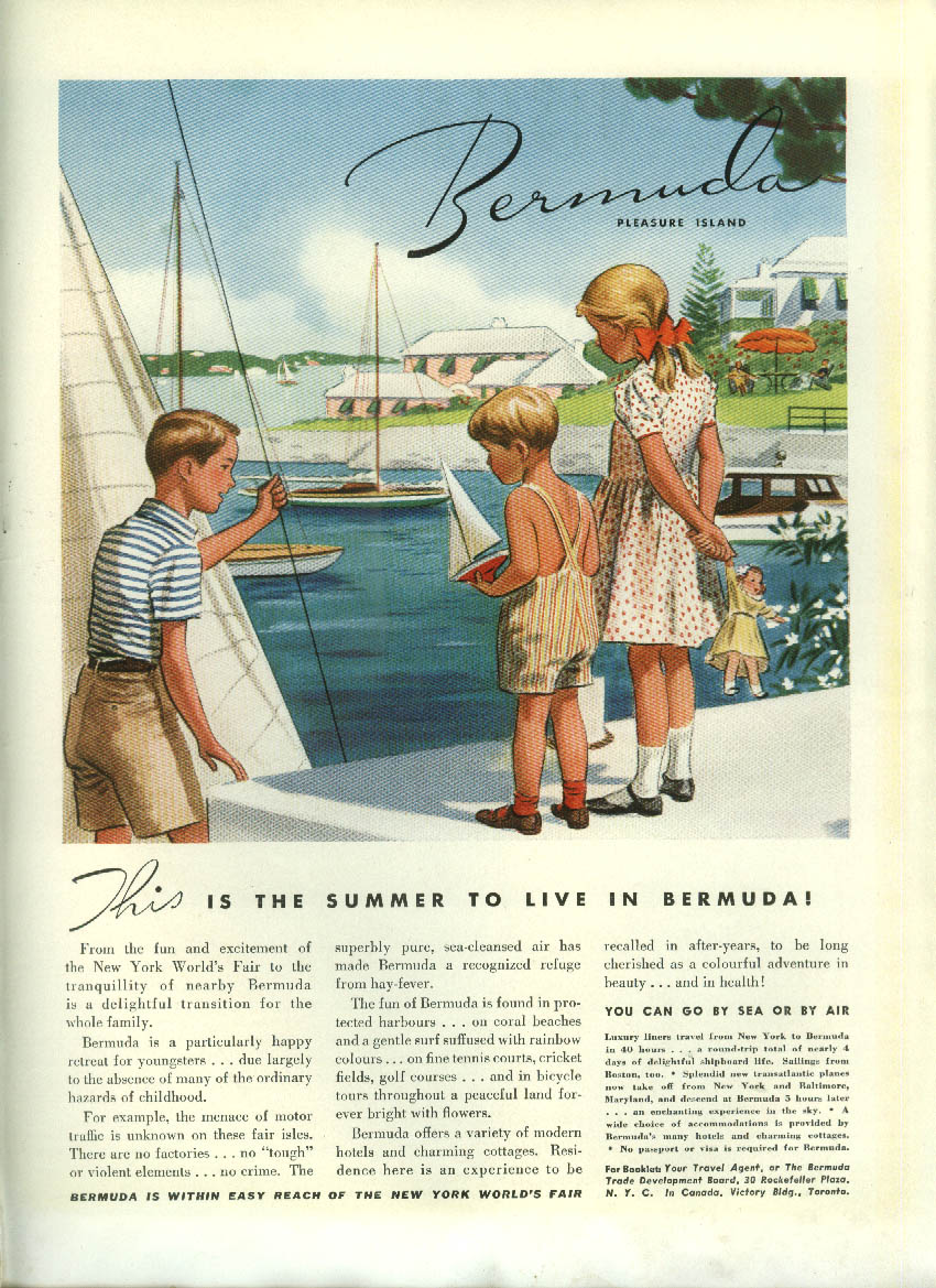 This is the summer to live in Bermuda! Tourism ad 1939 kids at play dockside