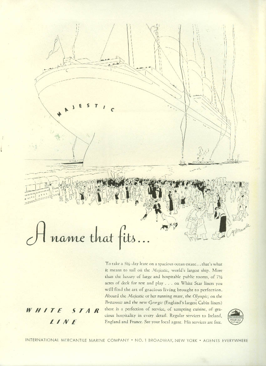 A name that fits White Star Line S S Majestic ad 1933 NY