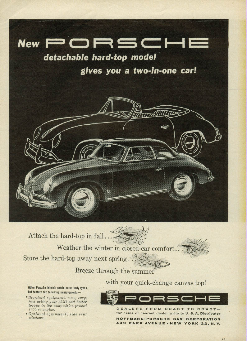 New detachable hard-top model gives you 2 cars in 1 Porache 1600 ad 1958 SCI