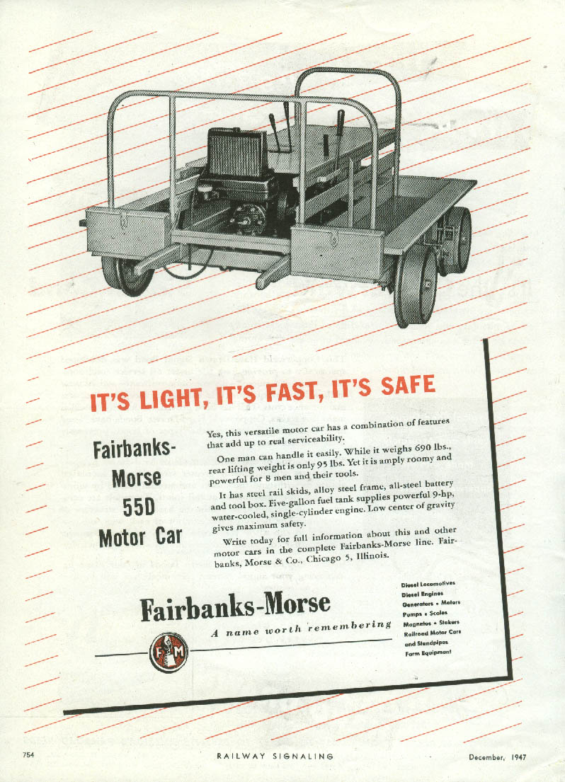 Image for It's light, fast, safe Fairbanks-Morse 55B Railroad Motor Gang Car ad 1947