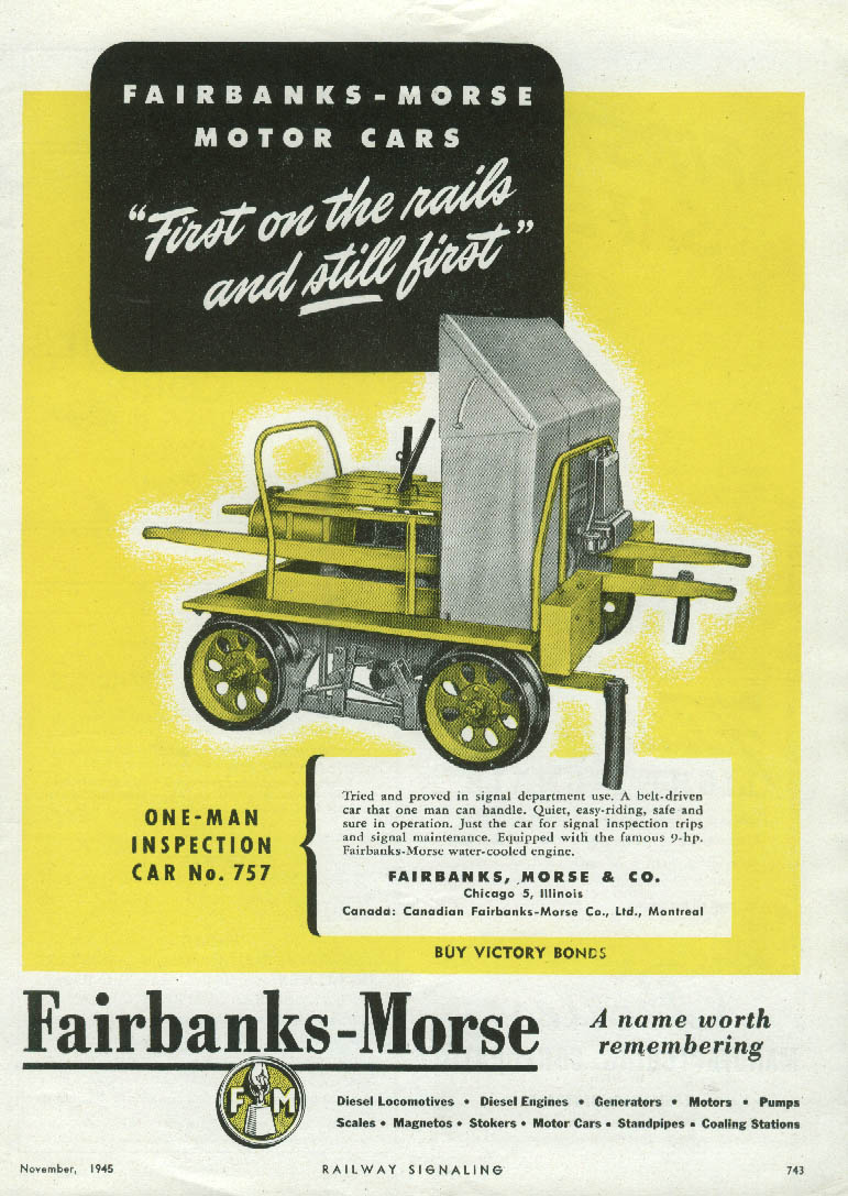Image for First on the rails & still first Fairbanks-Morse Railroad Motor Gang Car ad 1945