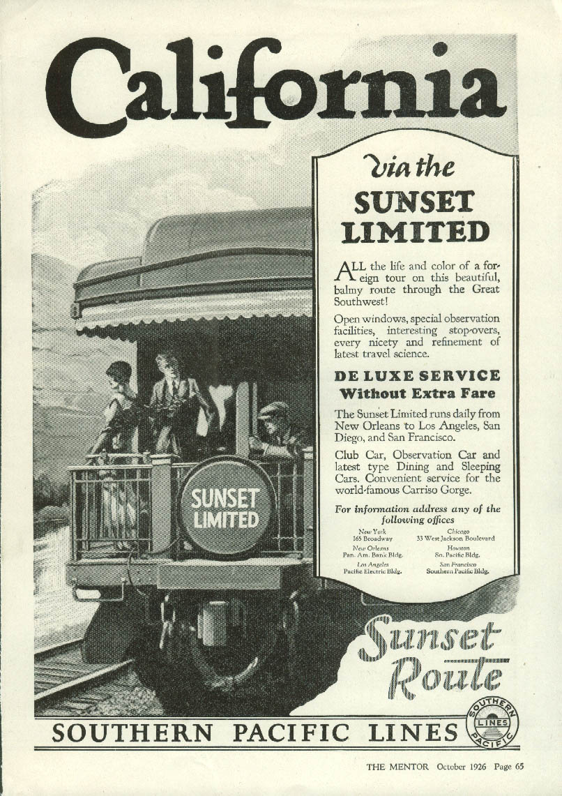 California via the Southern Pacific Railroad Lines Sunset Limited ad 1926