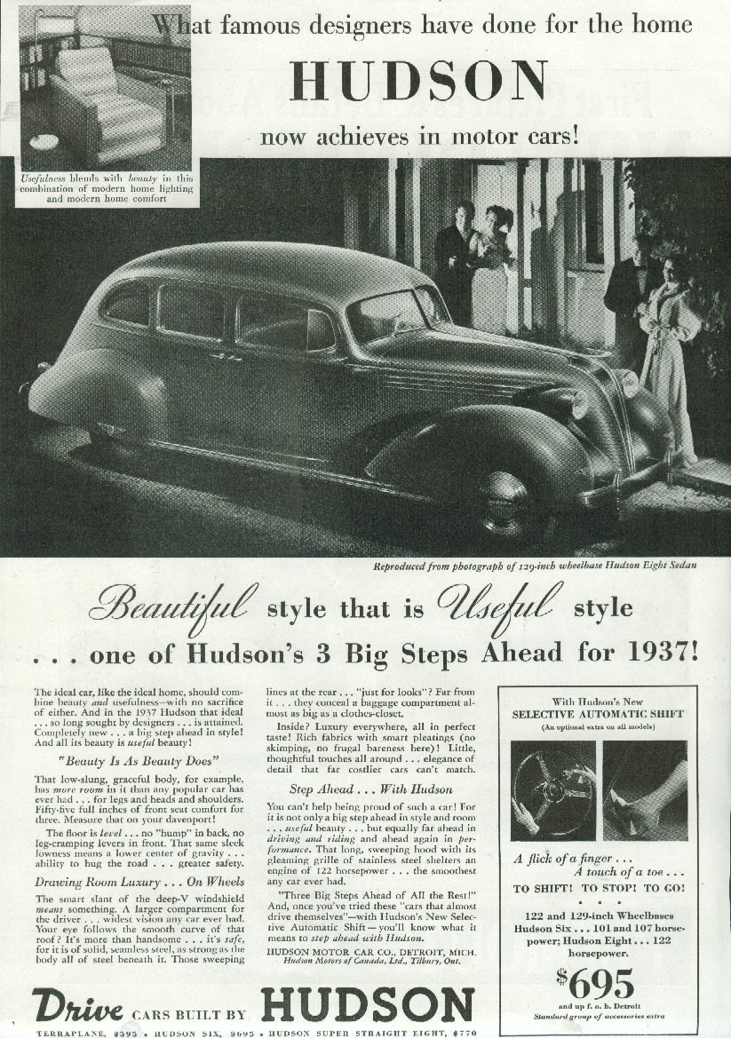 Image for What famous designers have done for the home Hudson Eight ad 1937