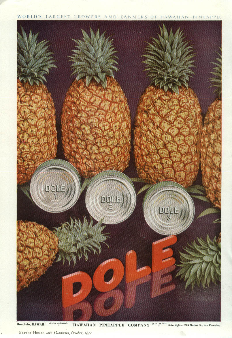Image for Dole Hawaiian Pineapple Company ad 1931 cans & pineapples