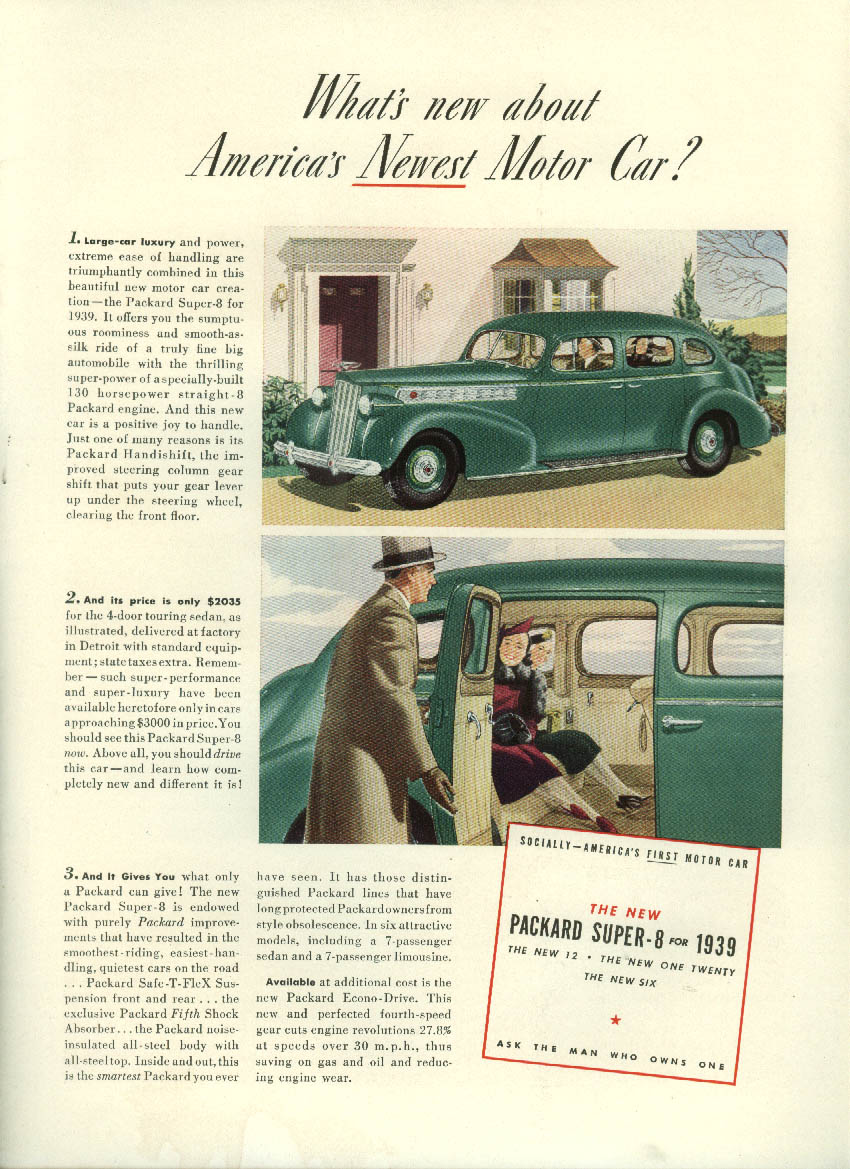 What's new about newest Packard Super-8? / Pennsylvania RR Private Lives ad 1939