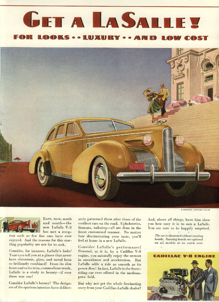 For Looks Luxury & Low Cost Get a La Salle ad 1939 yellow NY