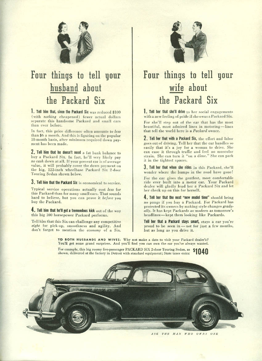 Four things to tell your husband / wife about the Packard Six ad 1938 NY