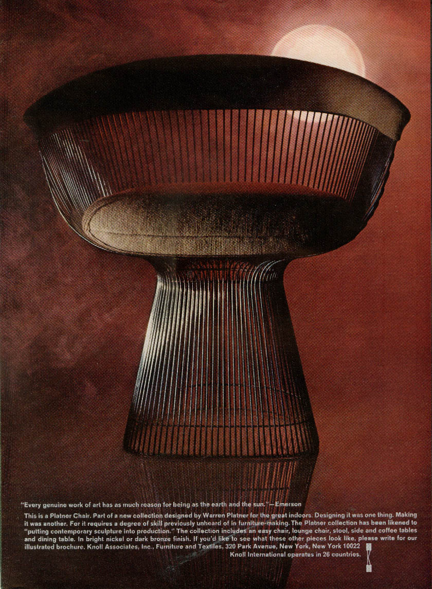 Every genuine work of art Platner Chair for Knoll International ad 1967