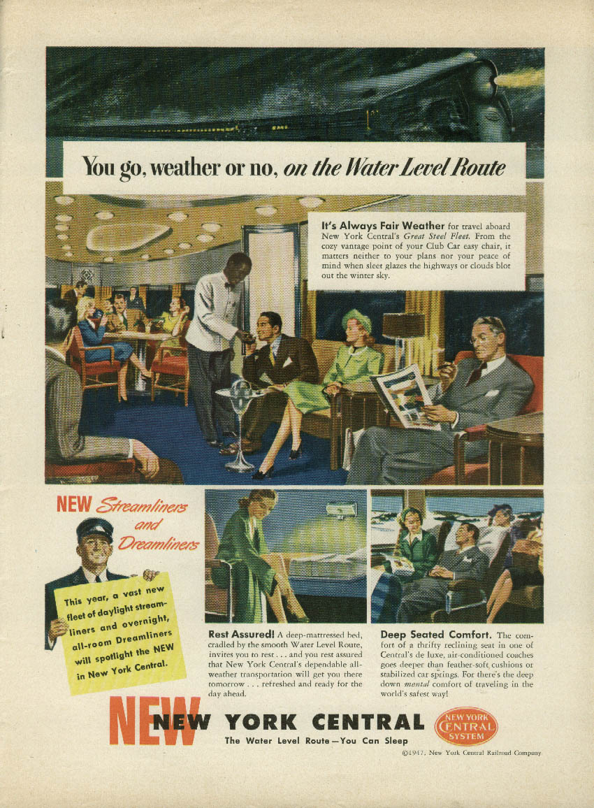 Image for You go, weather or no! on New York Central Water Level Route ad 1947
