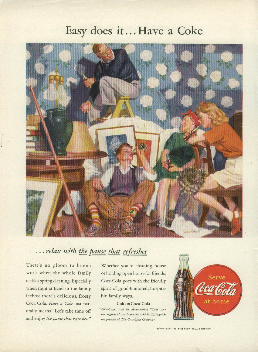 Easy does it Have a Coca-Cola ad 1946 family spring cleaning NY