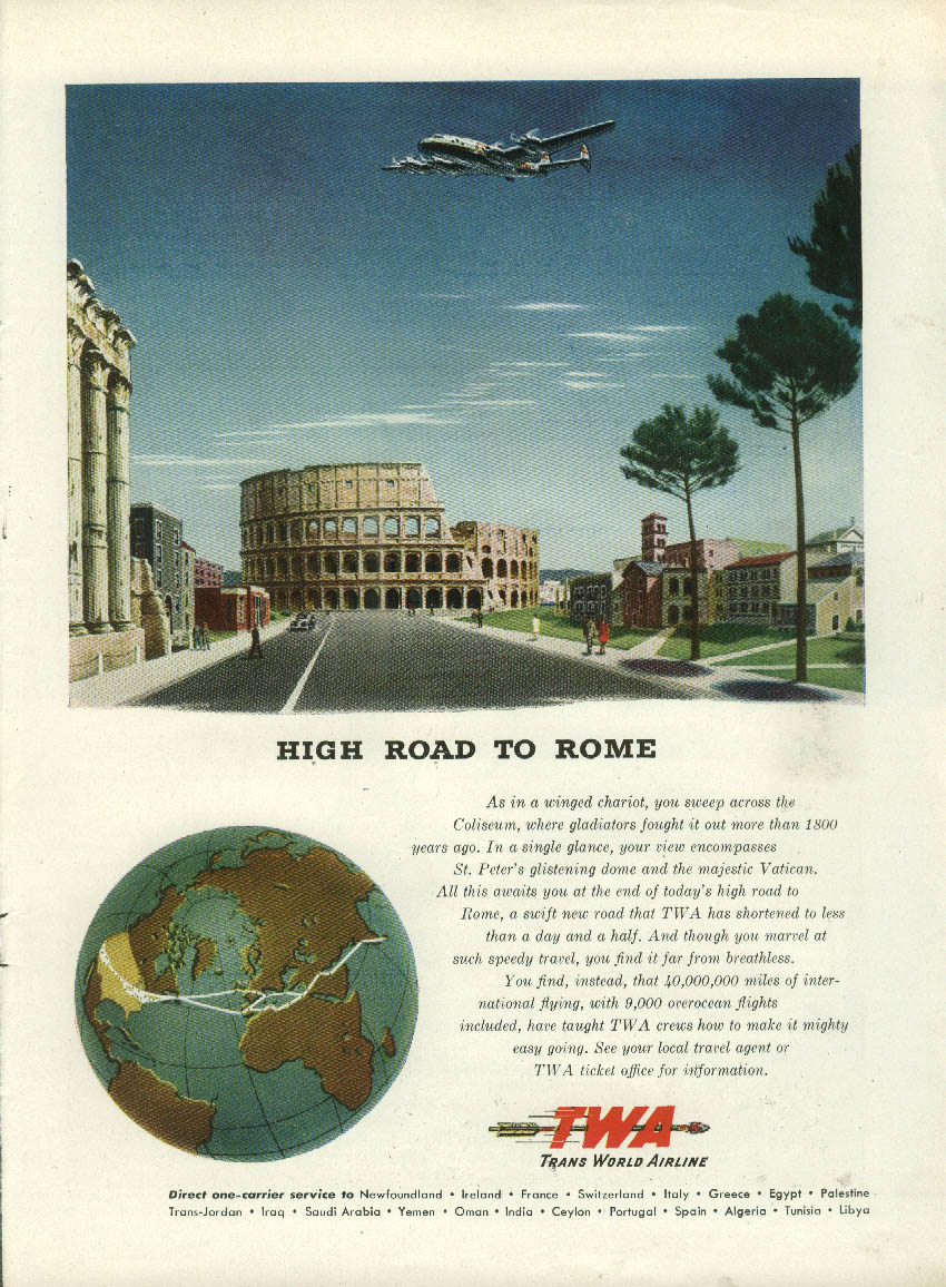 High Road to Rome TWA Trans World Airlines Constellation ad 1946 NY